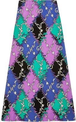 Gucci GG rhombus ramage print skirt