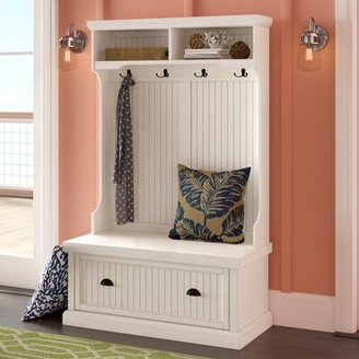 Beachcrest Home Halstead Hall Tree with Bench and Shoe Storage Color: Distressed White