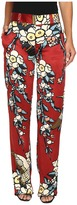 DSQUARED2 Fantasy Printed Silk Cherry Blossom Silk Mariacarla Pants Women's Casual Pants