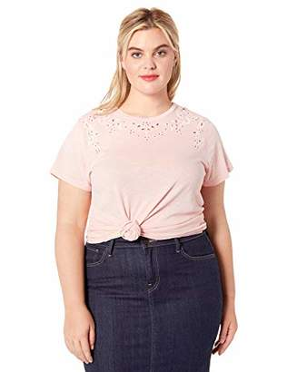 Lucky Brand Women's Plus Size Embroidered Solid TEE