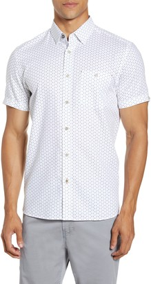 Ted Baker Slim Fit Triangle Print Short Sleeve Button-Up Shirt
