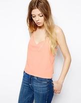 Asos Cropped Cami Top with V Neck - Peach