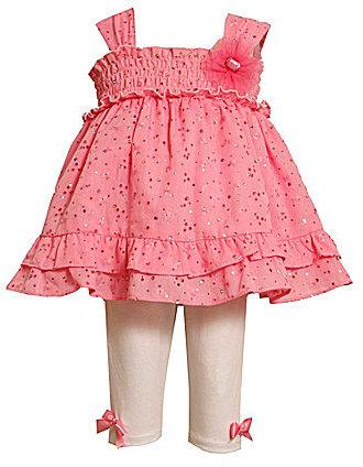 Bonnie Jean Toddler Glitter Eyelet Dress & Leggings Set