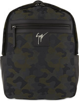 Giuseppe Zanotti Camouflage canvas and leather backpack