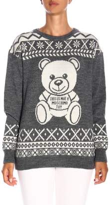 Moschino Long-sleeved Pullover With Norwegian Teddy Maxi Logo
