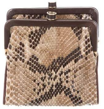 Bottega Veneta Leather-Trimmed Python Clutch