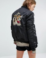 Schott Aireforce 1 Bomber Jacket With Woven Badge On Arm & Back Embroidery