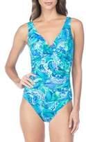 Lauren Ralph Lauren Exotic Paisley Twist Shirred Mio One-Piece Swimsuit