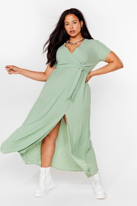 Nasty Gal Womens Longing For You Plus Wrap Dress - Sage