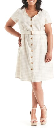 Estelle Caribbean Gingham Linen Blend Dress
