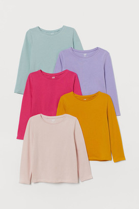 H&M 5-pack Jersey Tops - Yellow