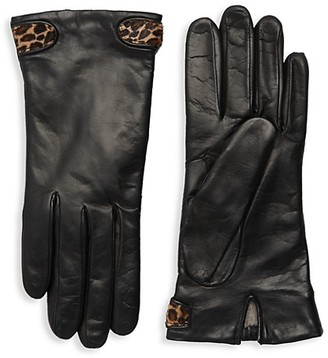 Portolano Dyed Calf Hair-Trimmed Leather Gloves