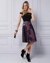 Le Château Floral Satin Off-the-Shoulder Cocktail Dress