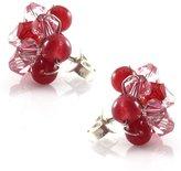 Mary Grace Design MGD, Swarovski Element and Red Quartz Color Bead Stud Earrings, Fashion Earrings, Small Stud Earrings, Fashion Handmade Jewelry For Women, Teens and Girls, JA-0105E