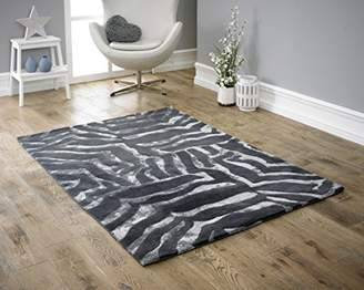 Camilla And Marc Coralie Hand Made Rug, Black, 160 x 230 cm