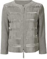 Armani Collezioni sheer stripes collarless jacket - women - Silk/Polyester/Viscose/Goat Suede - 40
