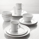 Crate & Barrel Maison Platinum Rim 16-Piece Dinnerware Set