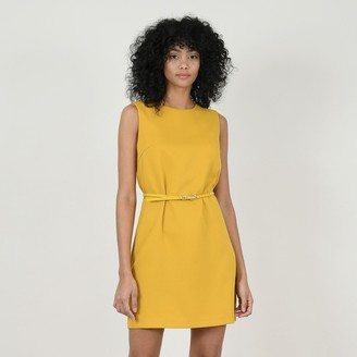 Molly Bracken Sleeveless Tie-Waist Mini Dress with Crew Neck