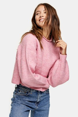 Topshop Womens Pink Cropped Knitted Jumper - Pink