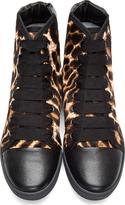 Lanvin Black Leopard Print Calf-Hair Sneakers