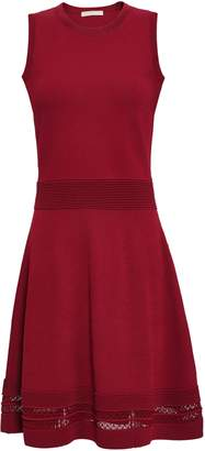 MICHAEL Michael Kors Flared Crochet-trimmed Ribbed-knit Dress