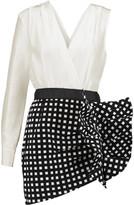 Self-Portrait Asymmetric ruffled cotton-blend mini dress