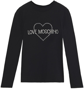 Love Moschino Crystal-embellished Stretch-cotton Jersey Top