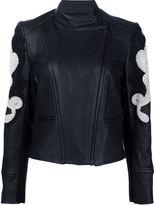 Yigal Azrouel paisley applique biker jacket