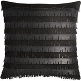 "CB2 Celia Leather Fringe 16"" Pillow With Feather Insert"