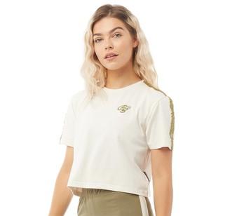Crosshatch Womens Karina CRS Crop Taped T-Shirt Tea