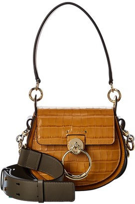 Chloé Tess Small Croc-Embossed Leather & Suede Shoulder Bag