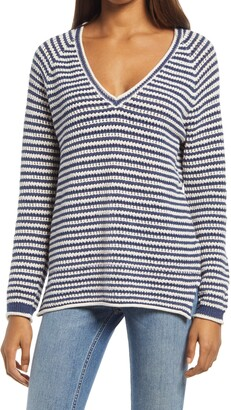Faherty Maia Stripe V-Neck Sweater