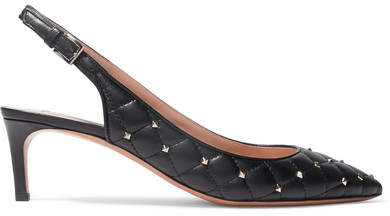 Valentino Garavani The Rockstud Quilted Leather Slingback Pumps - Black