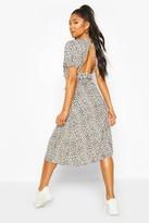 boohoo Dalmation Print Ruflle Button Midaxi Dress