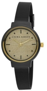 Laura Ashley Spray Black Mesh Powered Glitz Dial Watch