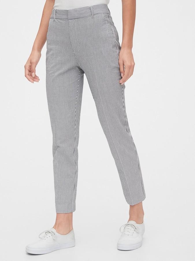 Gap High Rise Slim Ankle Seersucker Pants Shopstyle