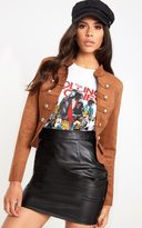 PrettyLittleThing Black Faux Suede Military Jacket