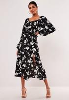Missguided Black Floral Balloon Sleeve Midi Dress