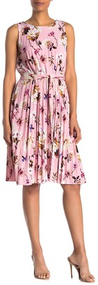 T Tahari Sleeveless Crew Neck Pleated Dress