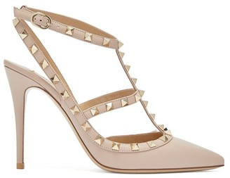 Valentino Rockstud Leather Pumps - Nude