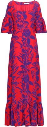 Borgo de Nor Fluted Printed Silk-crepe Maxi Dress