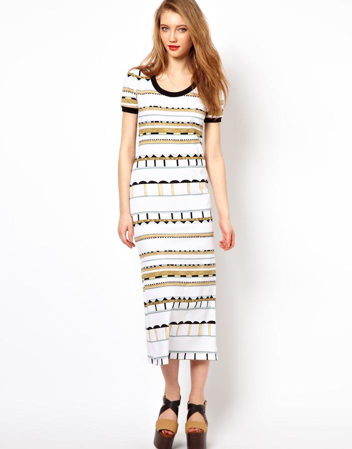 Viva Vena Maxi T-Shirt Dress in Horitzontal Print - Multi