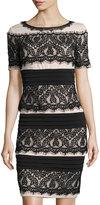 Jax Short-Sleeve Lace Sheath Dress, Black/Clay