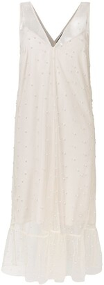 Rokh Pearl-Embellished Midi Dress