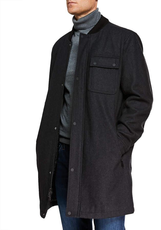Andrew Marc Men's Rowland Melton Wool-Blend Parka w/ Hooded Bib