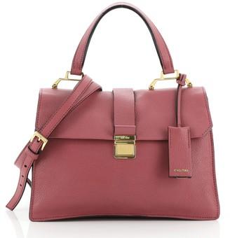 Miu Miu Bicolor Madras Convertible Compartment Top Handle Bag Leather Medium