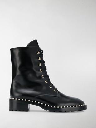 Stuart Weitzman Lace-Up Studded Boots