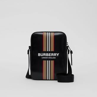 Burberry Logo and Icon Stripe Print Crossbody Bag