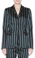 Tomas Maier Striped Three-Button Jacket, Black/Sage