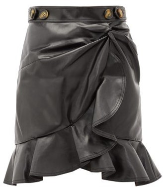 Self-Portrait Ruffled Faux-leather Skirt - Black